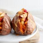 Make Ahead Breakfast Stuffed Sweet Potatoes (Whole30 + Dairy-Free) #whole30 #egglessbreakfast #paleobreakfast #whole30breakfast #dairyfreebreakfast #veganbreakfast #makeaheadbreakfast #mealprepping