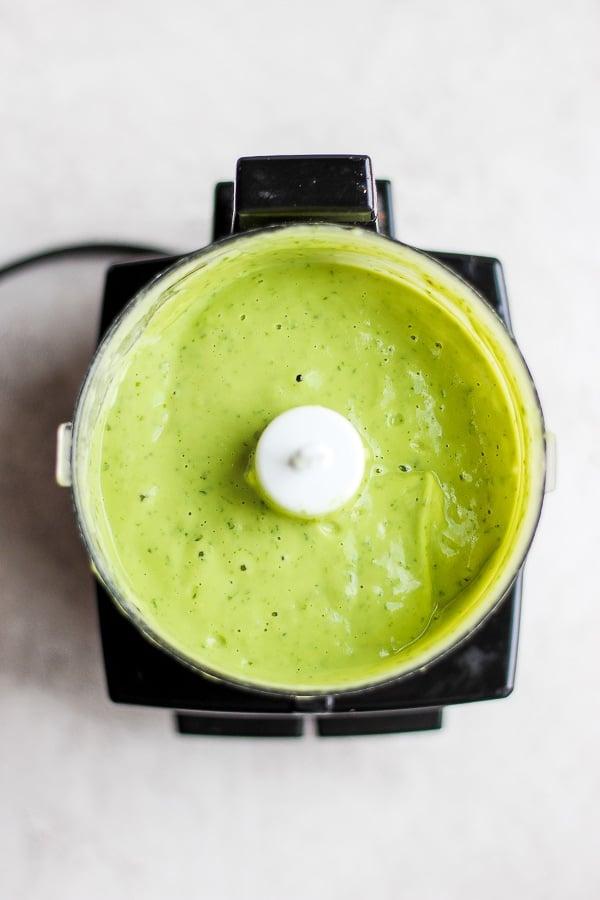 Creamy Avocado Sauce + Roasted Head of Cauliflower