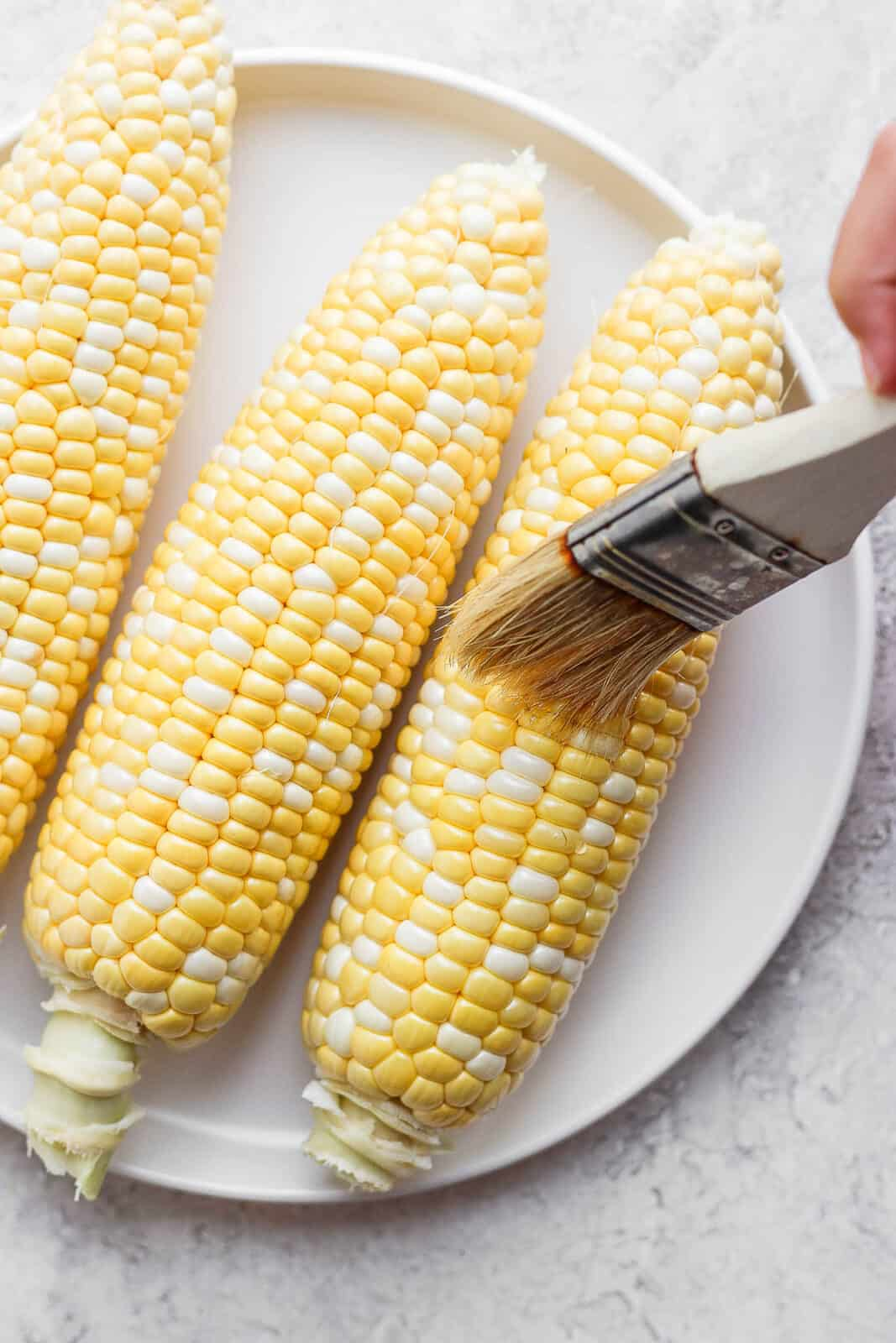 Someone brushing olive oil on a piece of sweet corn before cooking.