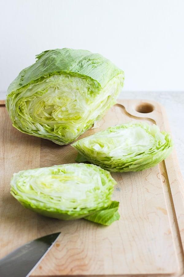 cutting lettuce buns
