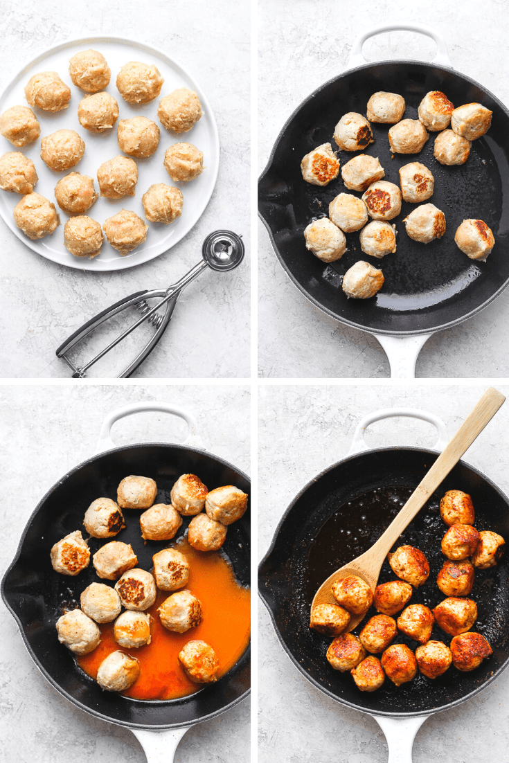Step by step photos of buffalo chicken meatballs being made.