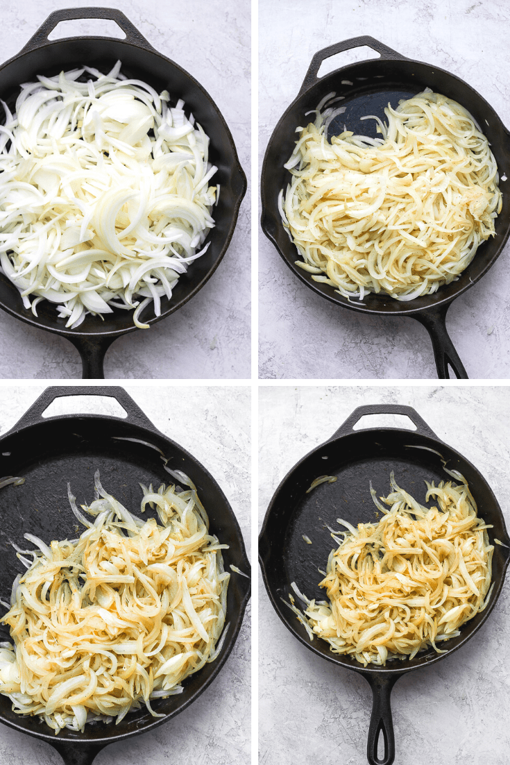 Four images of onions being caramelized in a cast iron pan.