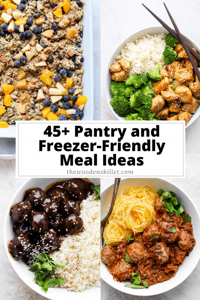 Pantry + Freezer Friendly Recipes - a list of inspiration to help you use what you have in your pantry and freezer! #pantryfriendlymeals #freezerfriendlymeals #freezerforaging #fridgeforaging #pantrymeals #pantrycooking