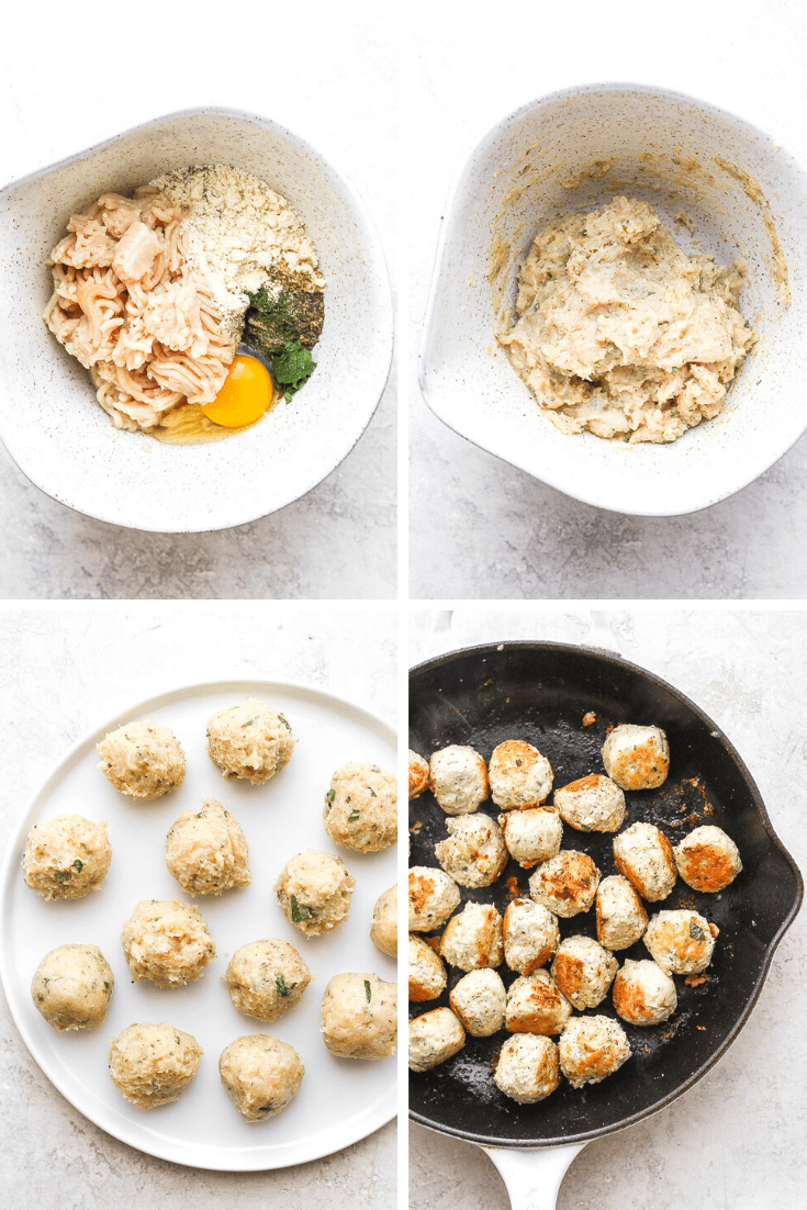 Step-by-step photos showing the process of making greek chicken meatballs.