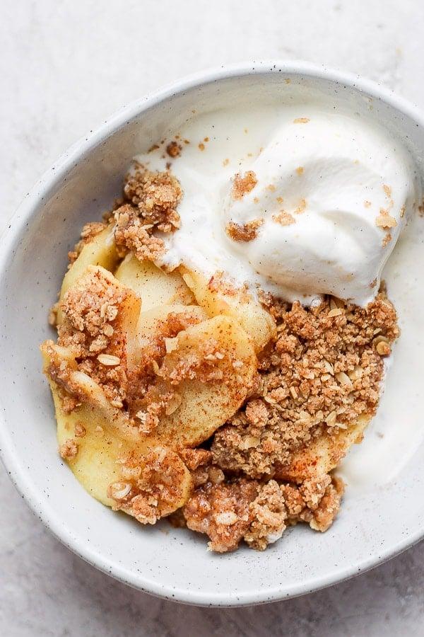 Healthy Apple Crisp in a bowl.