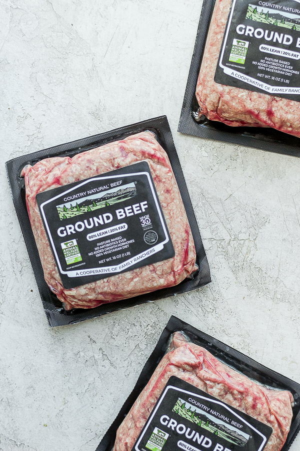 Country Natural Ground Beef packages.