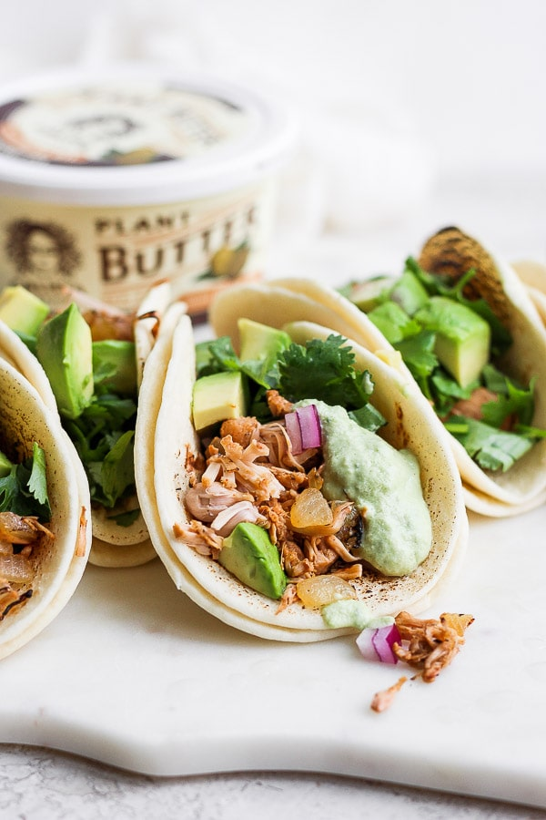Jackfruit Tacos + Creamy Poblano Sauce.