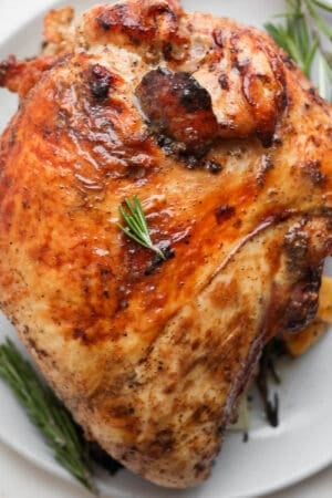 A grilled turkey breast on a plate.