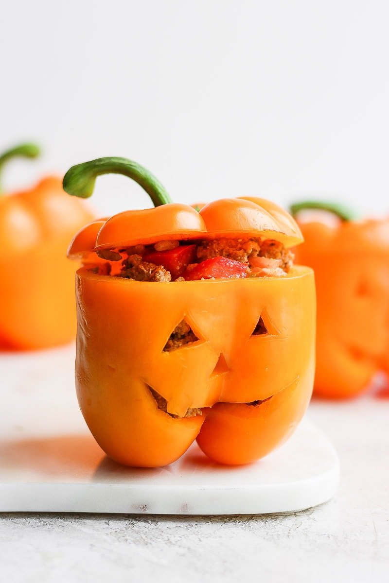 A jack-o-lantern stuffed pepper.