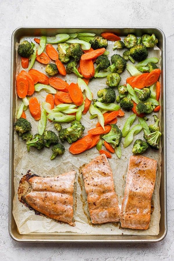 Sheet pan of teriyaki salmon with vegetables.