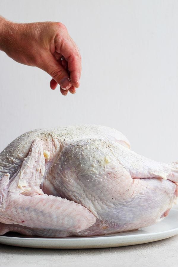 Male hand sprinkling salt and pepper on raw turkey.