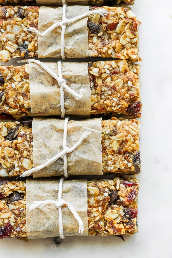 Four trail mix bars lined up.