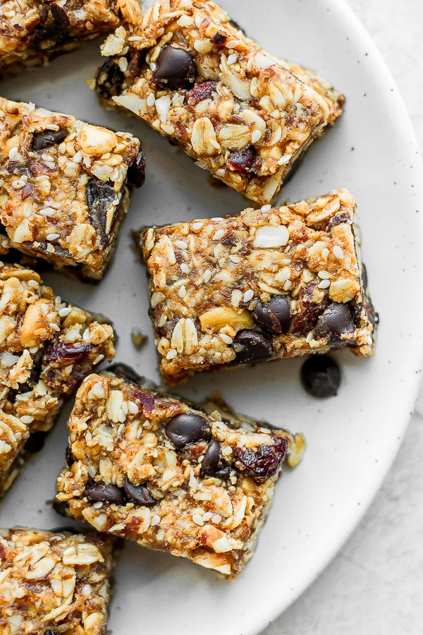 Trail mix bars on a plate.