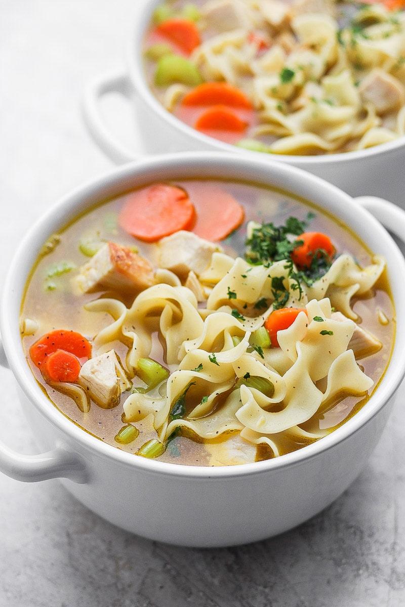 2 bowls of leftover turkey noodle soup.