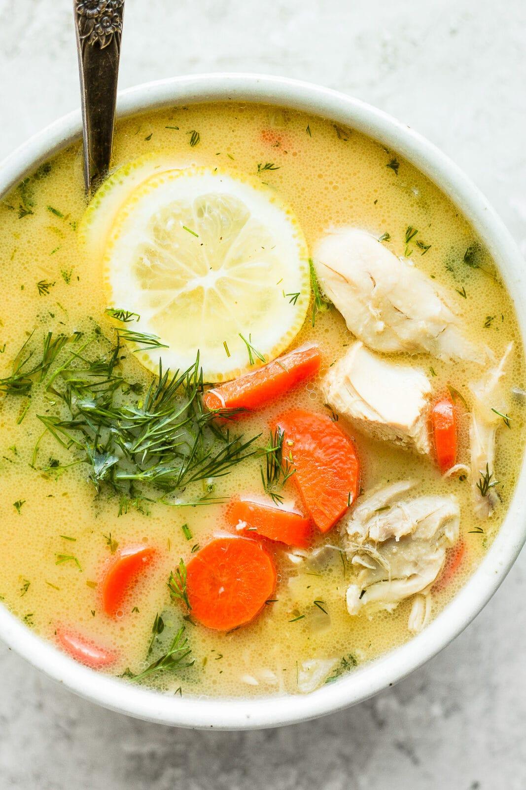 Bow of greek lemon chicken soup.
