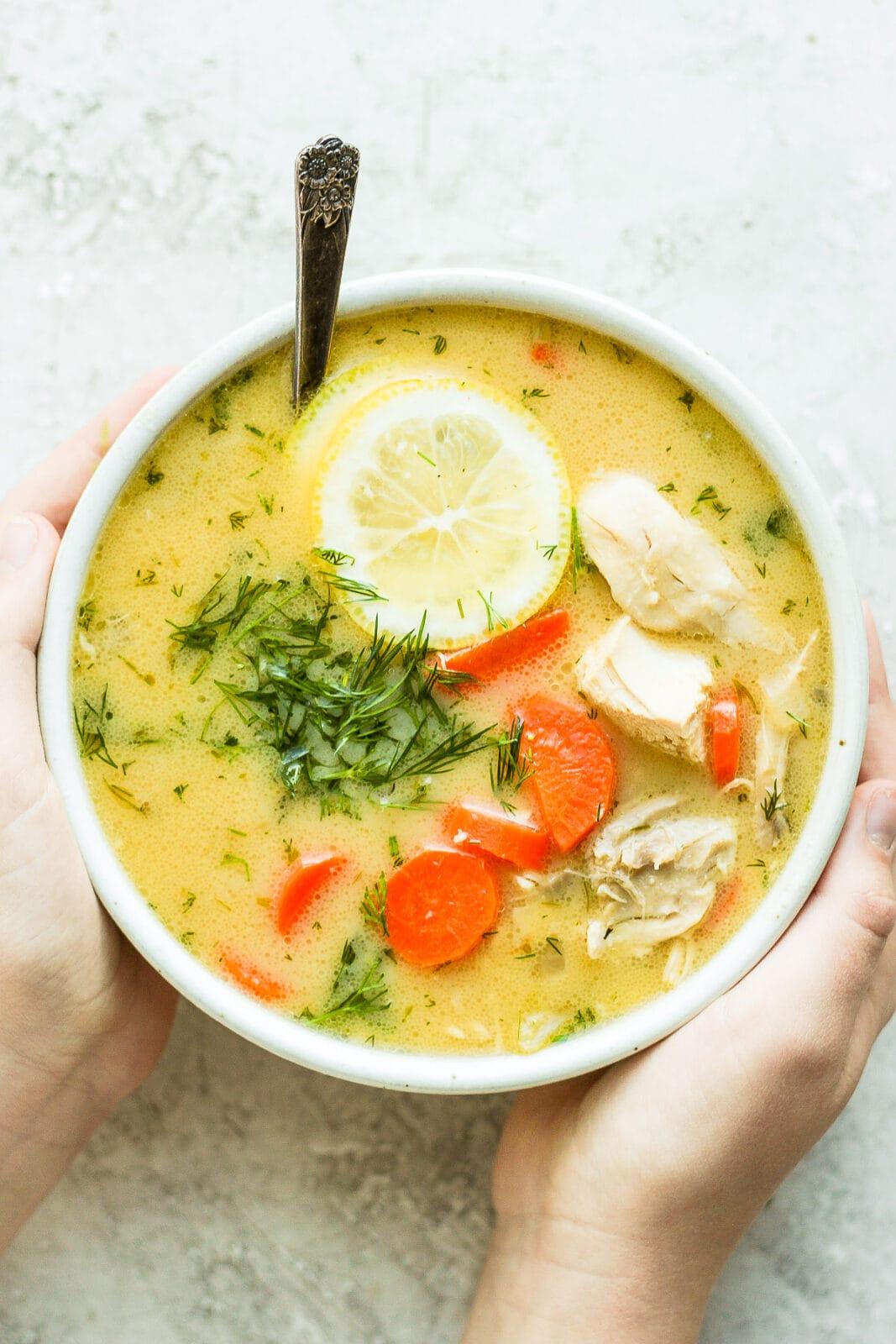 Bowl of greek lemon chicken soup.