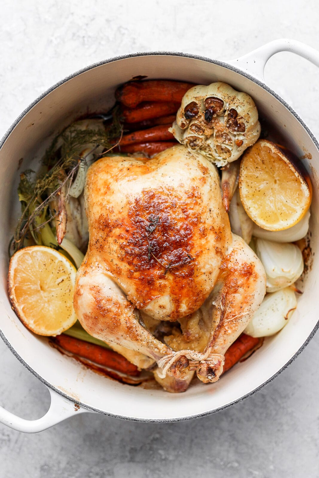 Roasted chicken with lemon.
