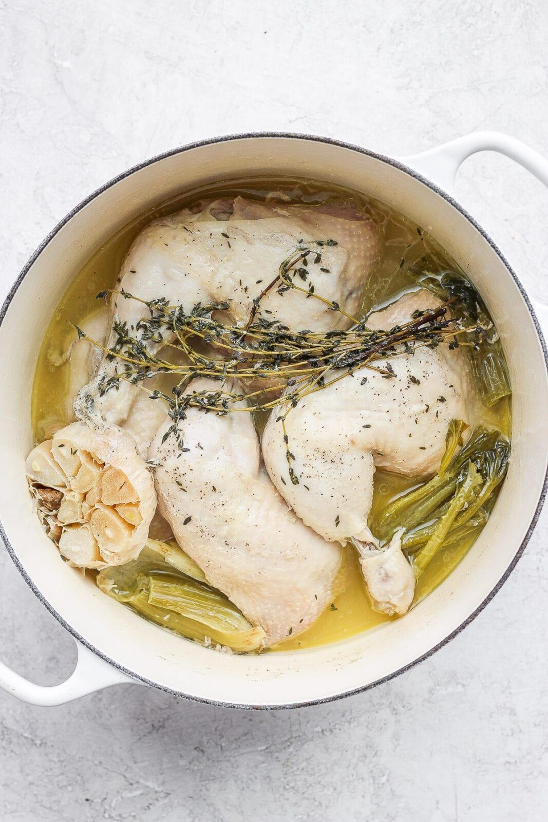 Dutch oven of stewed chicken.