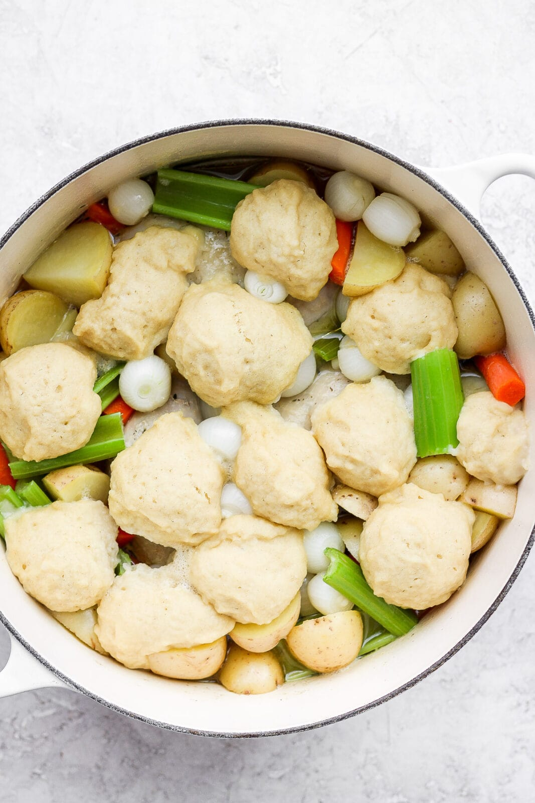 Dutch Oven filled with chicken and dumplings.