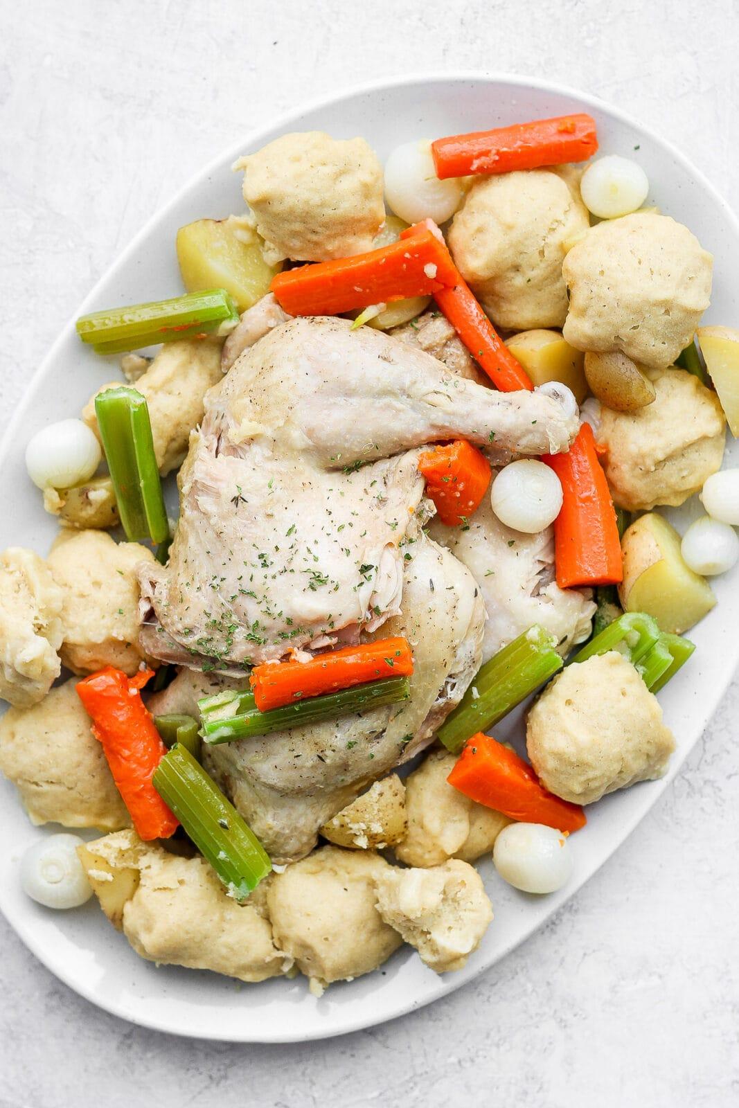 Platter of chicken and dumplings.