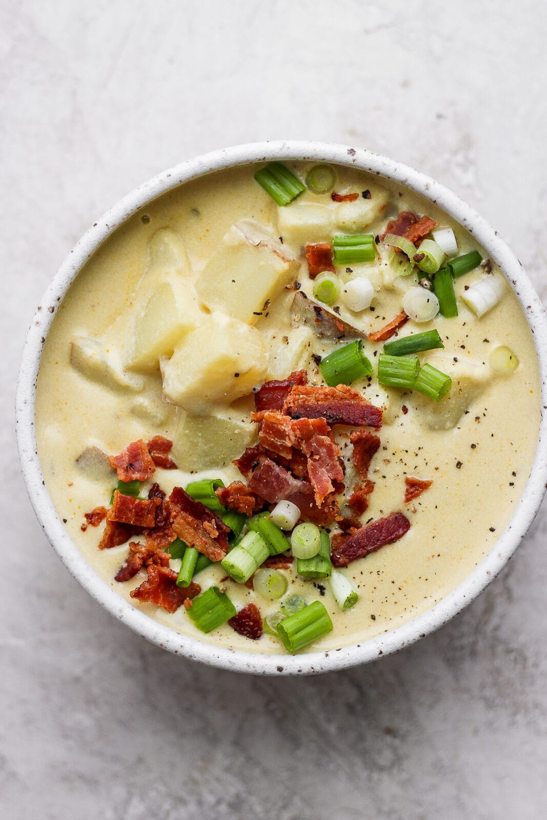 Bowl of loaded baked potato soup.