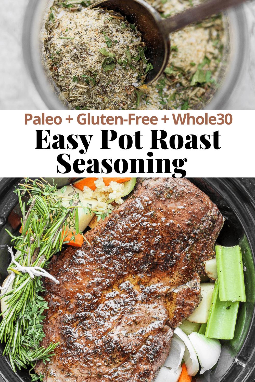 Pinterest image for easy pot roast seasoning.