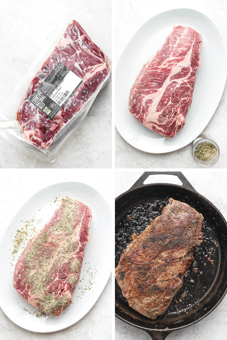 4 square image of beef roast in a package, being prepared, and being seared in a cast iron skillet.