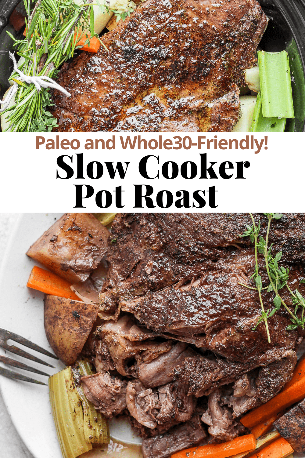 Pinterest image for Slow Cooker Pot Roast.