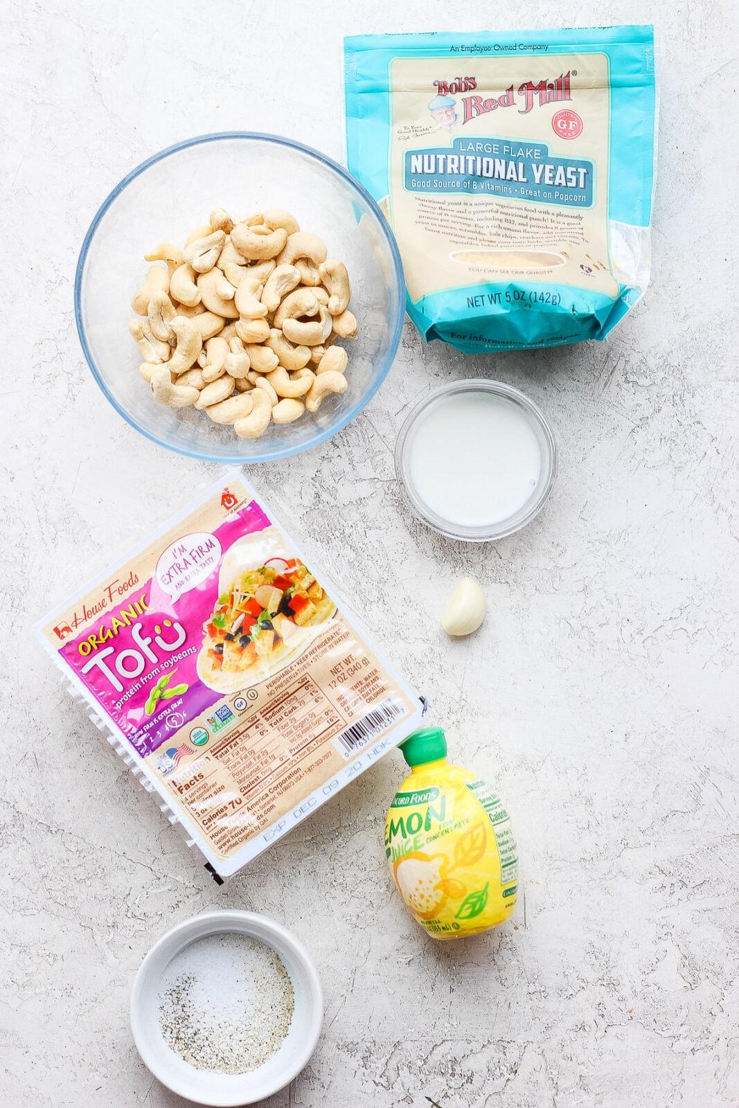 Image of ingredients needed for vegan ricotta.