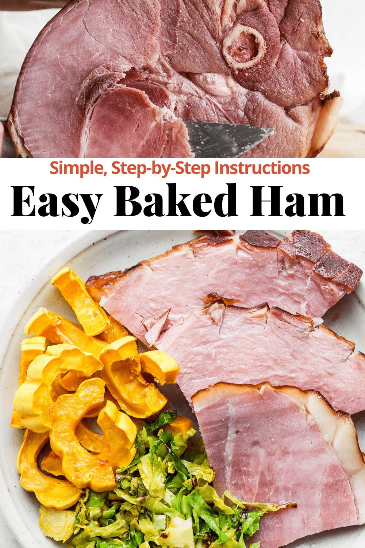 Pinterest image for simple baked ham.