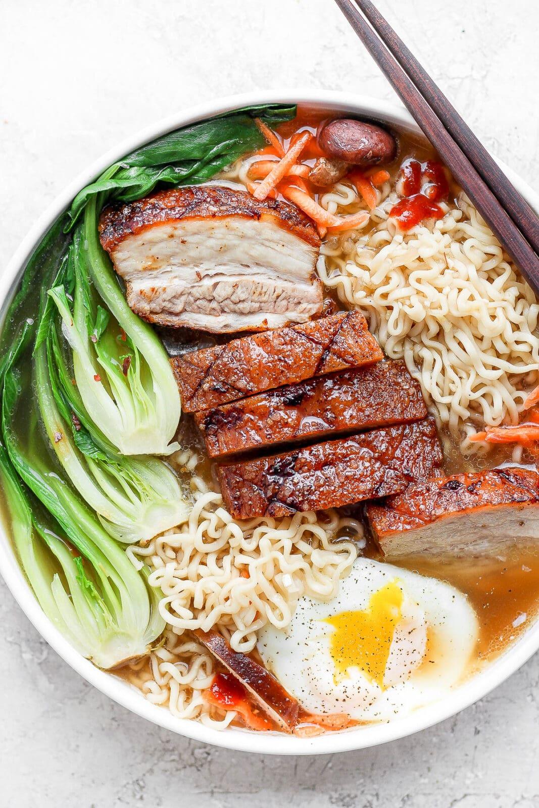 A bowl of pork belly ramen.