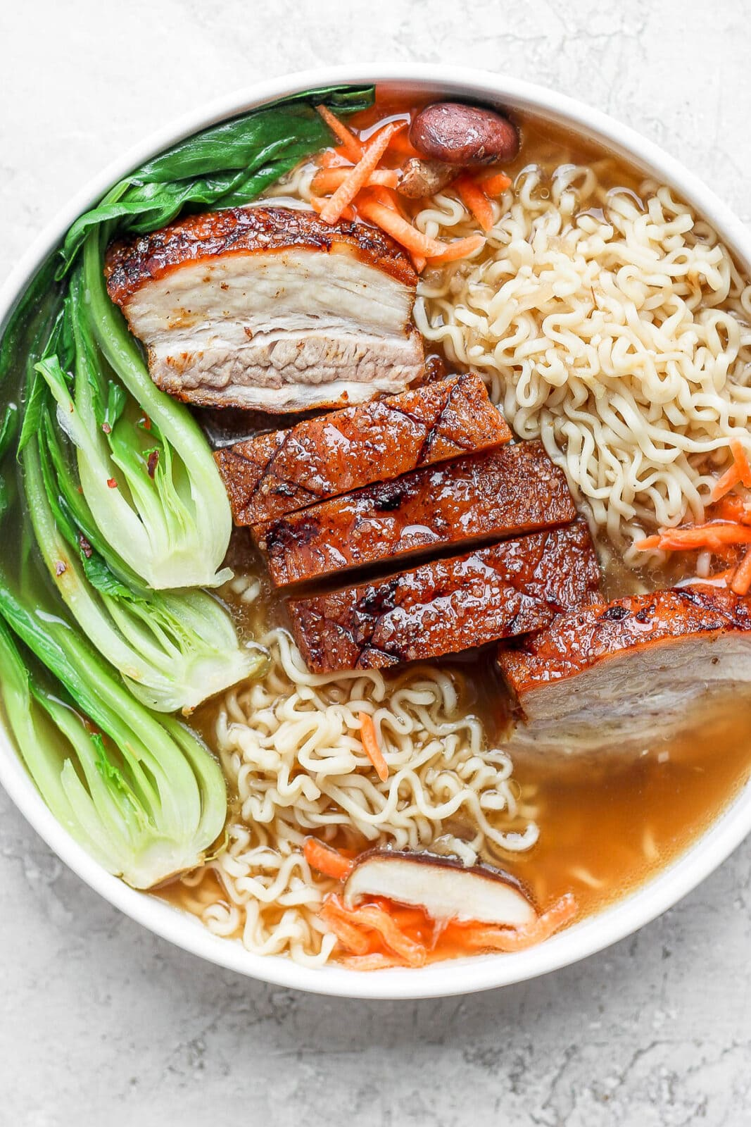 Pork belly ramen in a bowl without a poached egg.