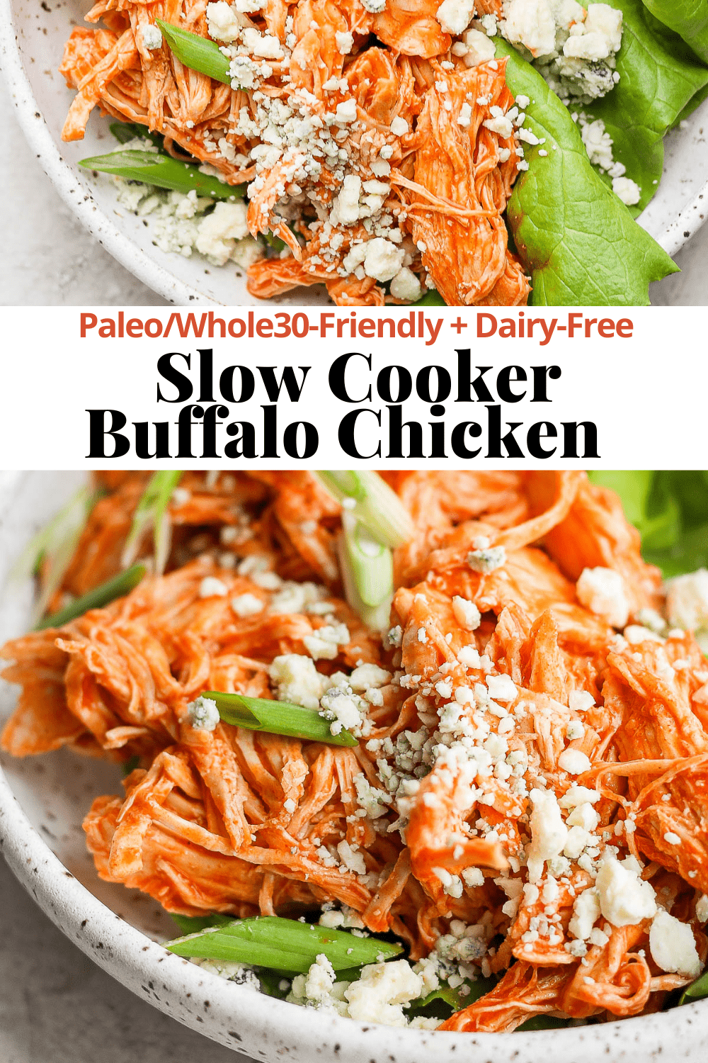 Pinterest image for slow cooker buffalo chicken.