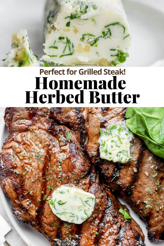 Pinterest image for herbed butter.