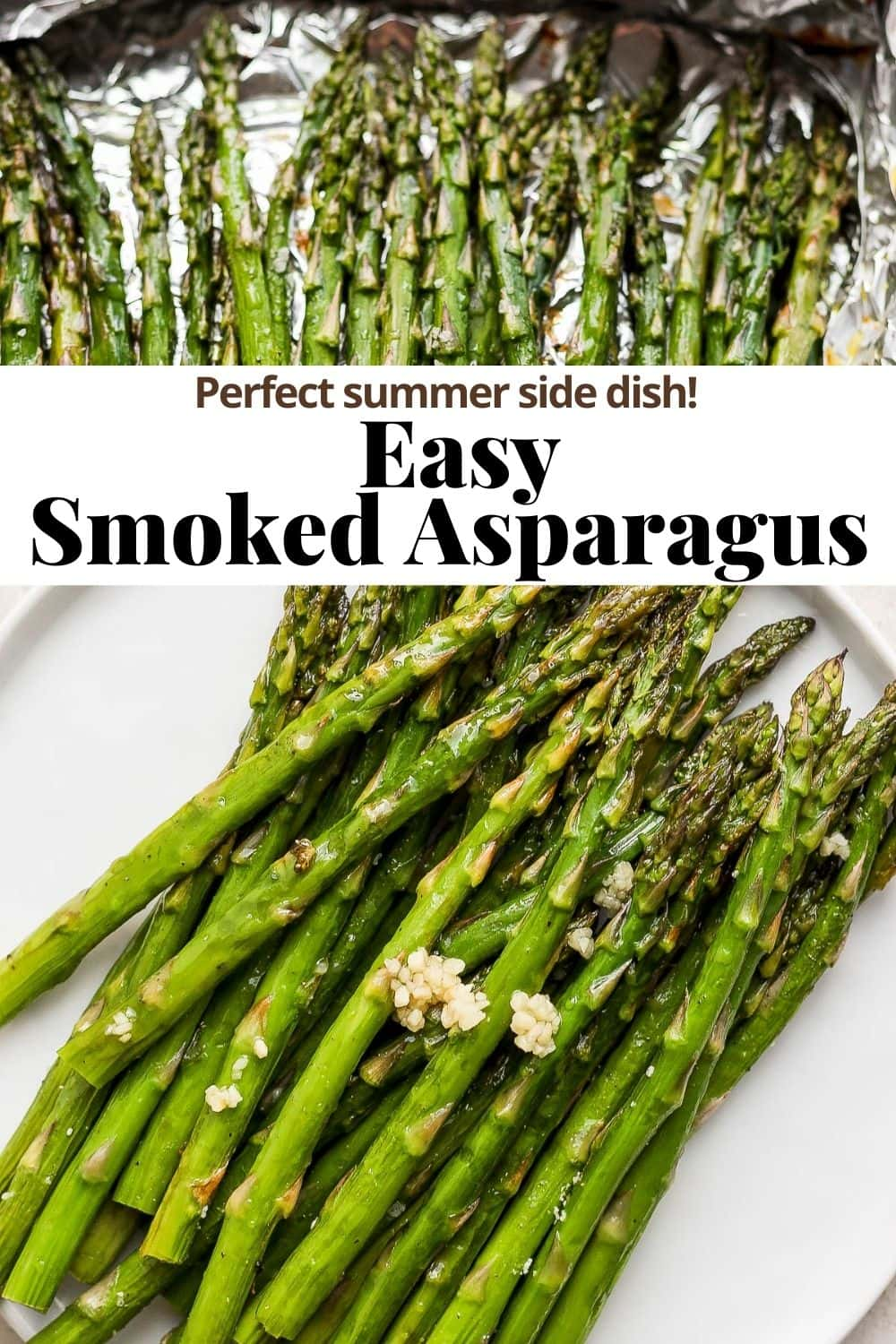 Pinterest image for smoked asparagus.