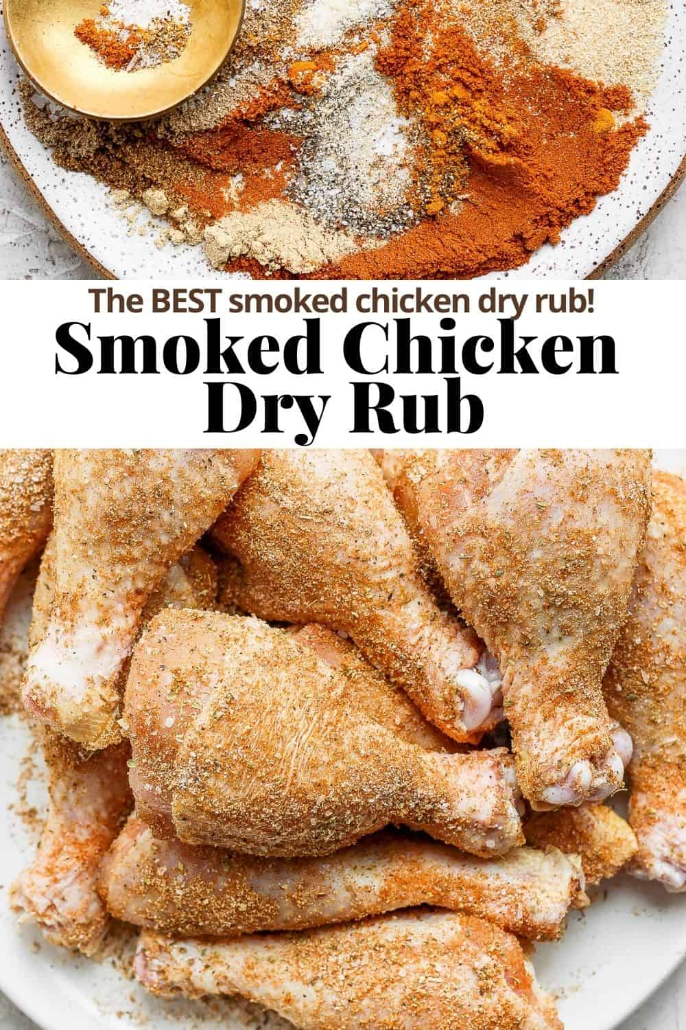 Pinterest pin for smoked chicken dry rub.