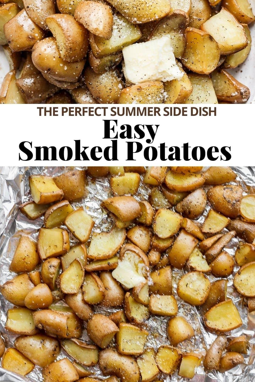 Pinterest image for smoked potatoes.
