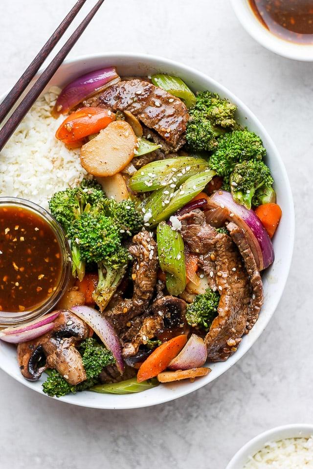 Easy Steak Stir Fry in a bowl.