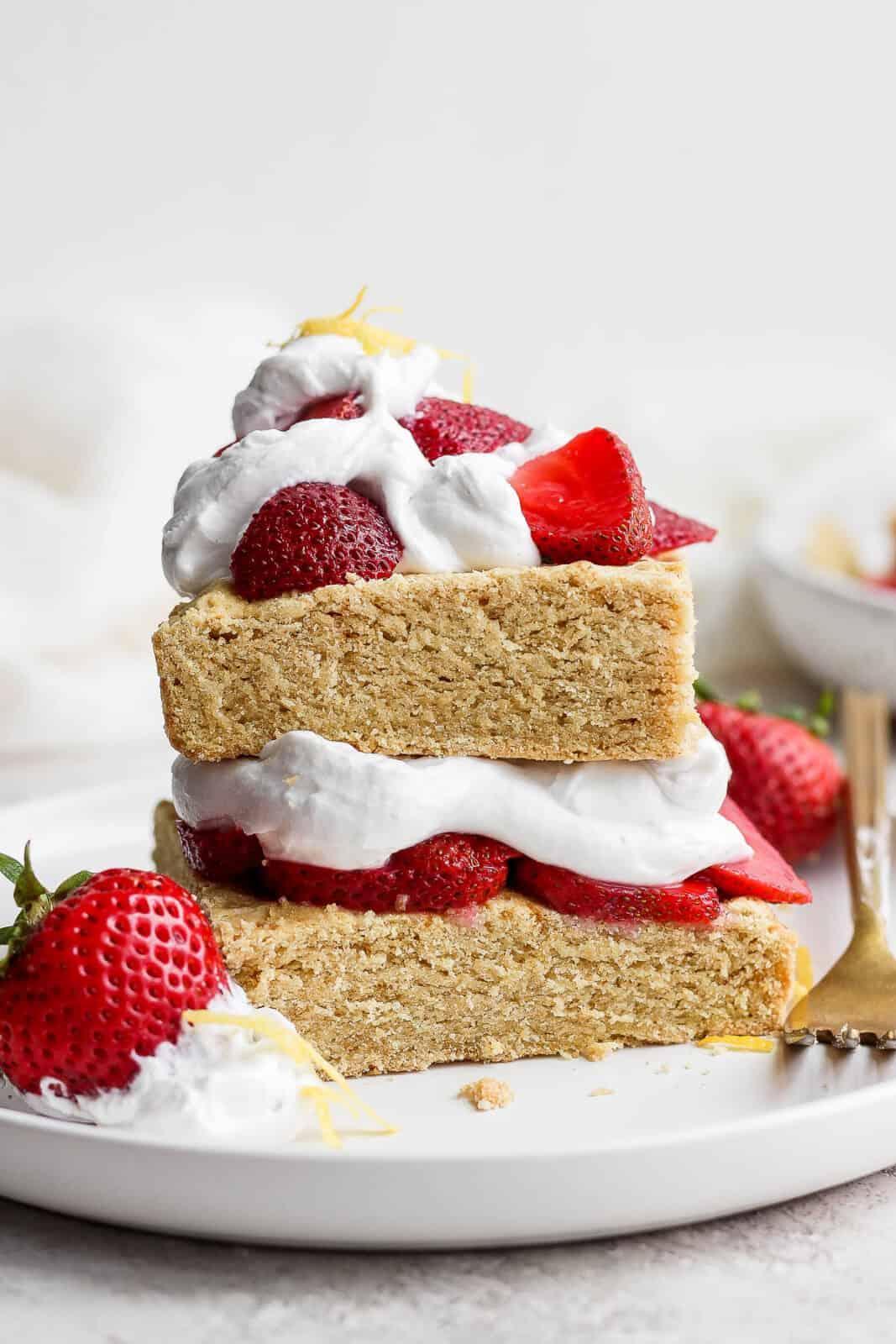 Plate of gluten free strawberry shortcake.
