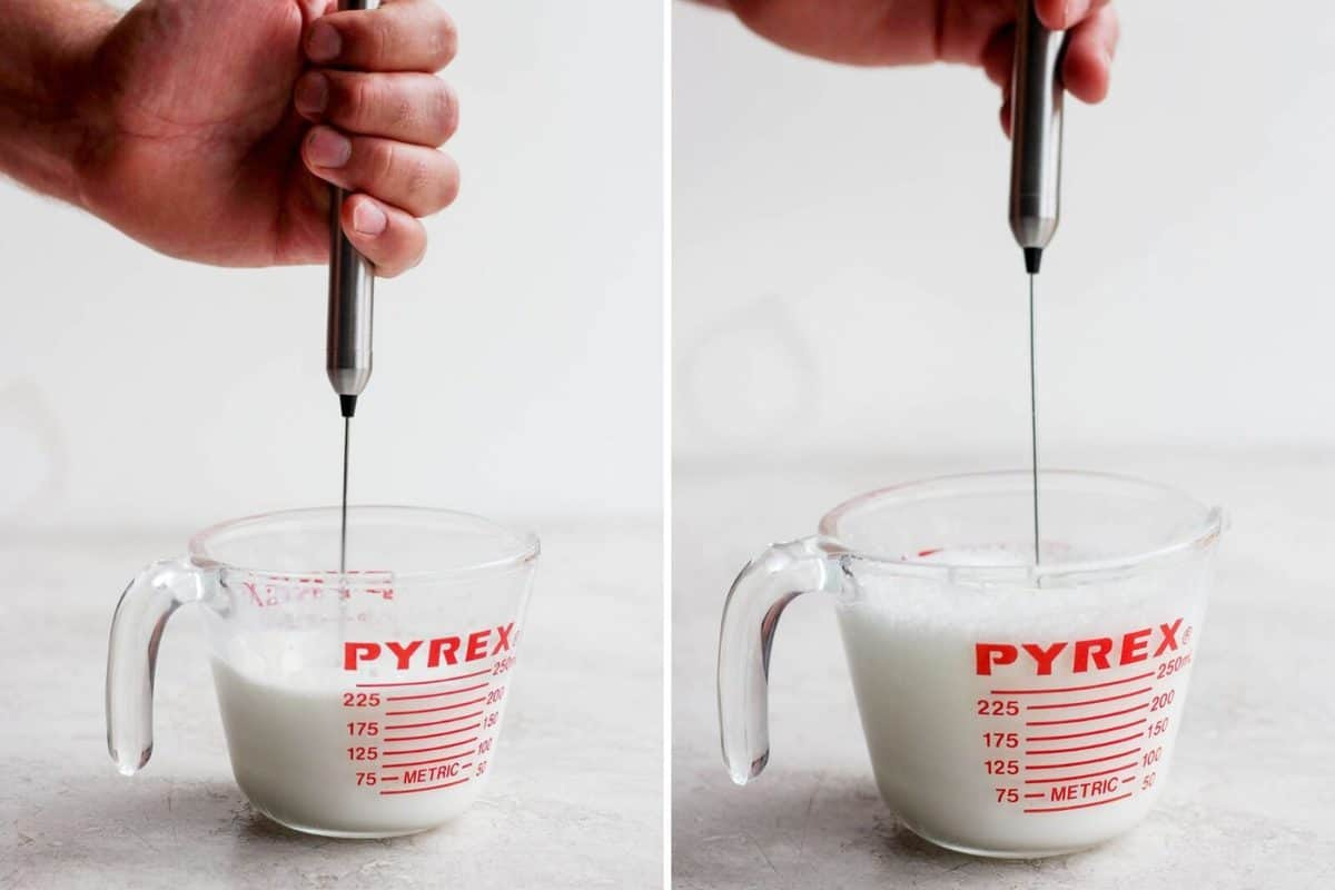 Tow pictures side-by-side showing the process of frothing milk with a hand frother.