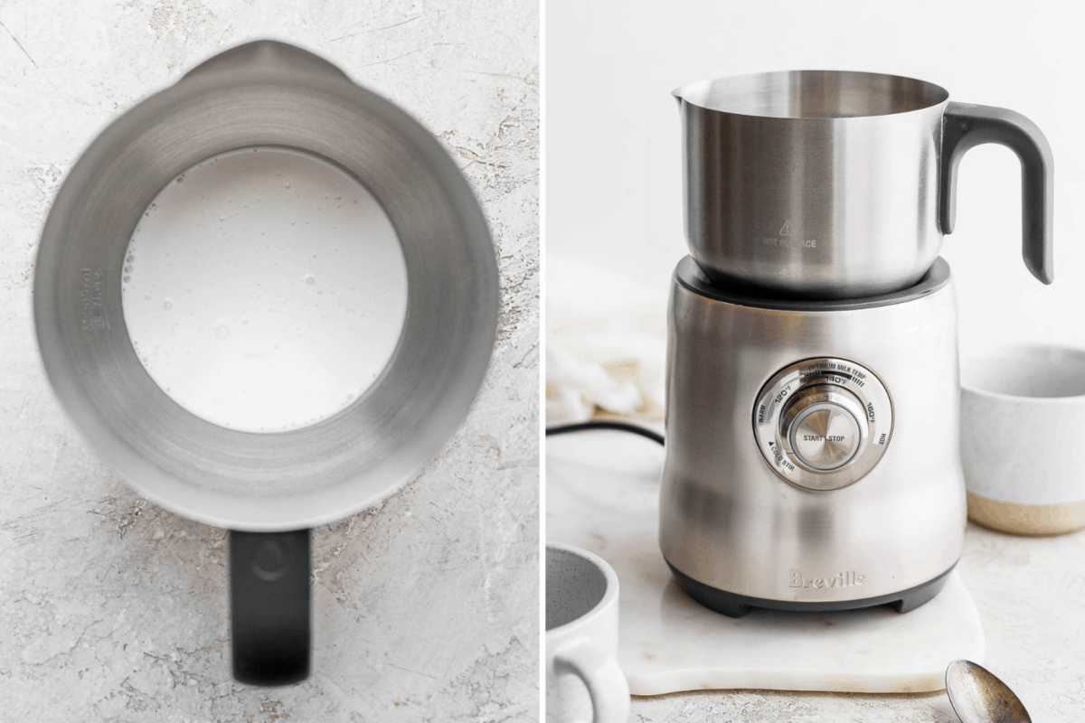 Two pictures side-by-side showing a Breville milk frother as another way to make cold foam.