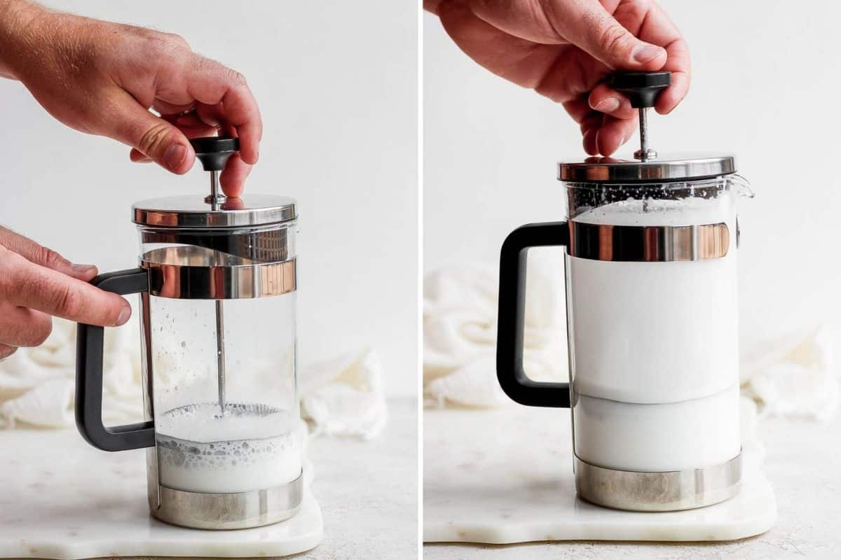 Two pictures side-by-side showing the process of frothing milk in a French press.