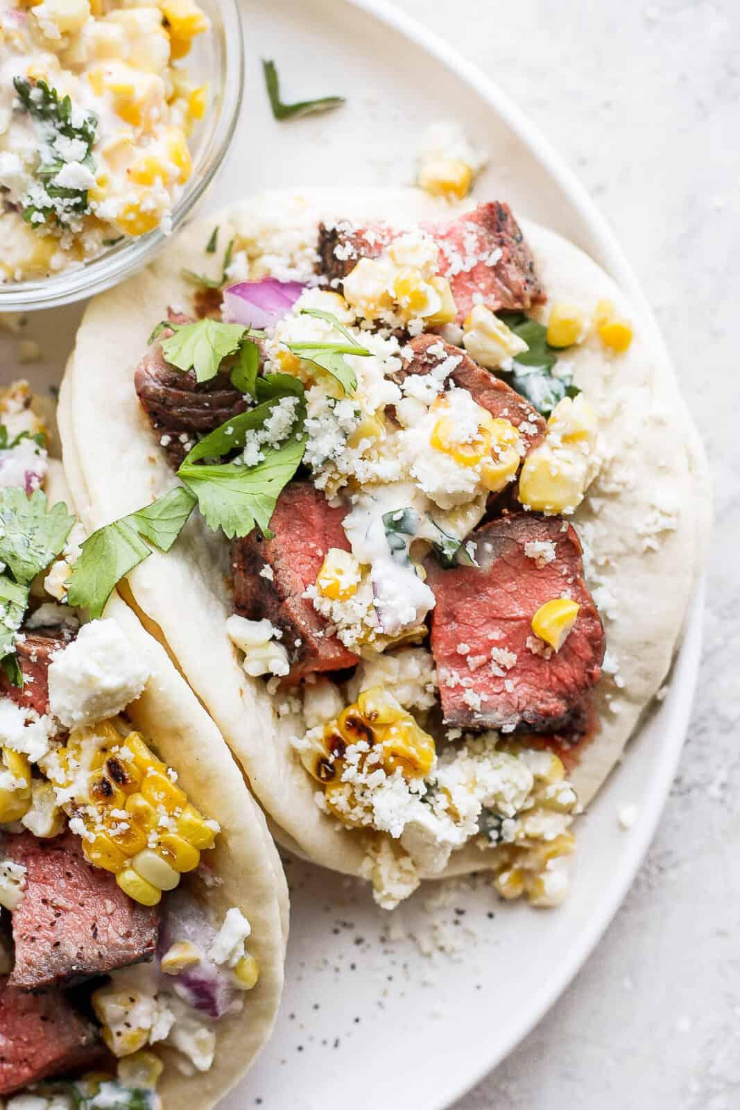 Close up of a steak taco.