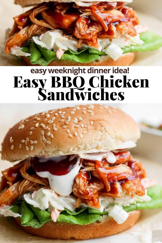 Pinterest image for bbq chicken sandwich.