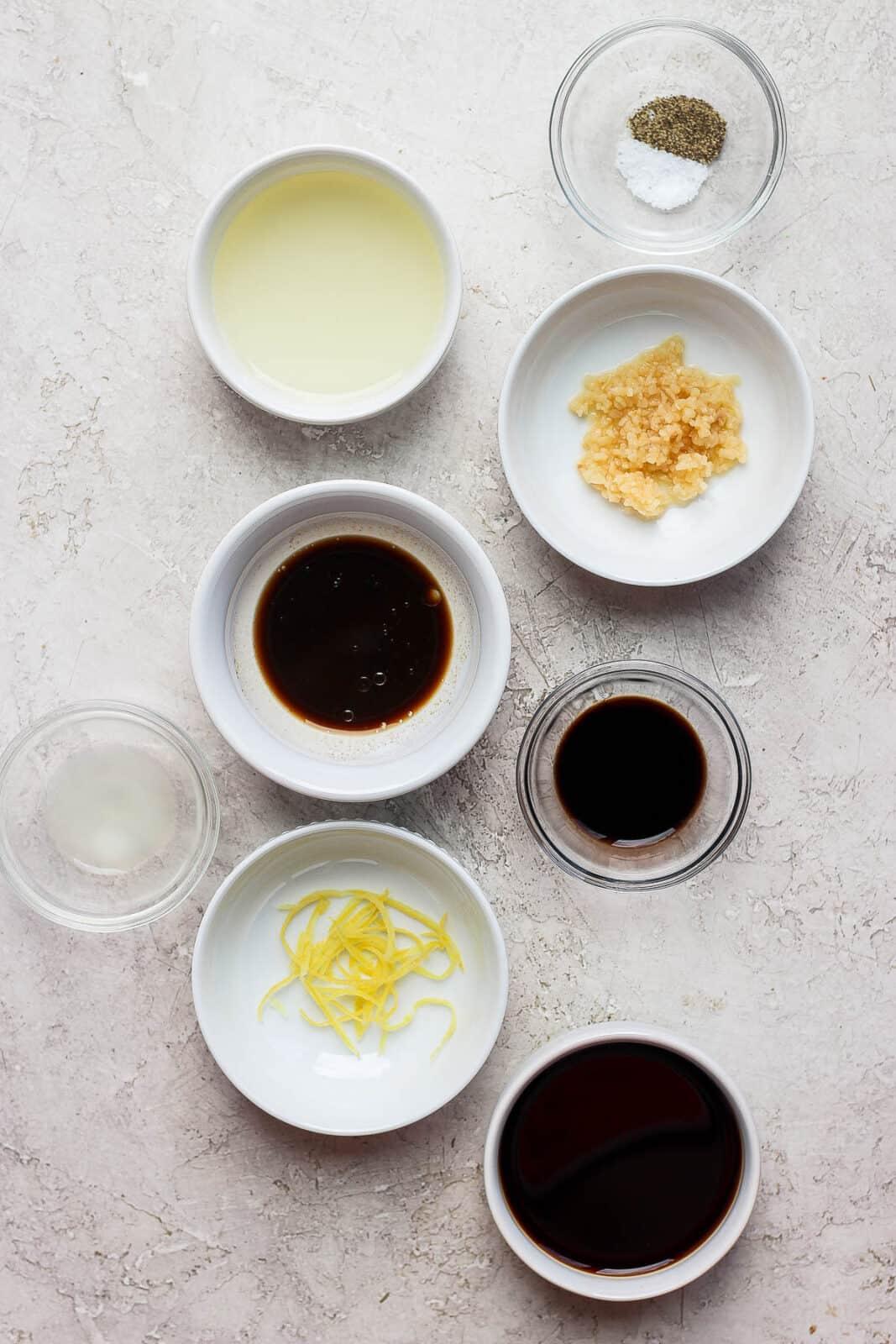 Chicken marinade ingredients in bowls.
