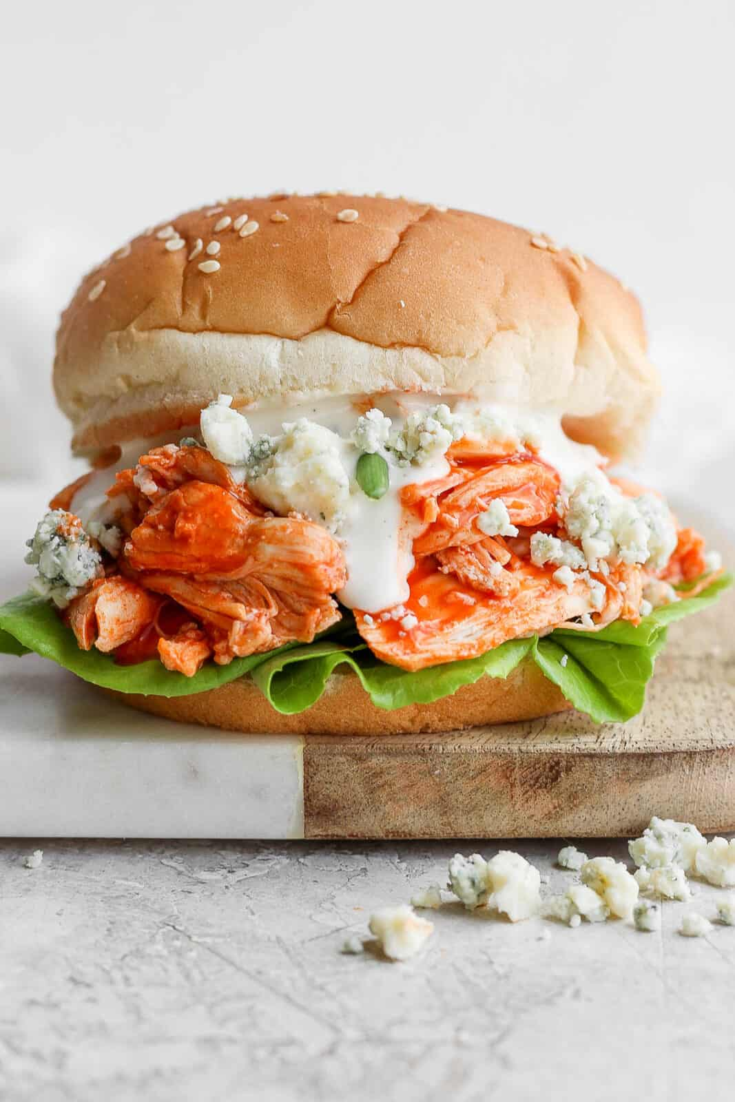 Buffalo chicken sandwich with all the toppings.