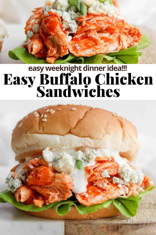 Pinterest image for buffalo chicken sandwich.