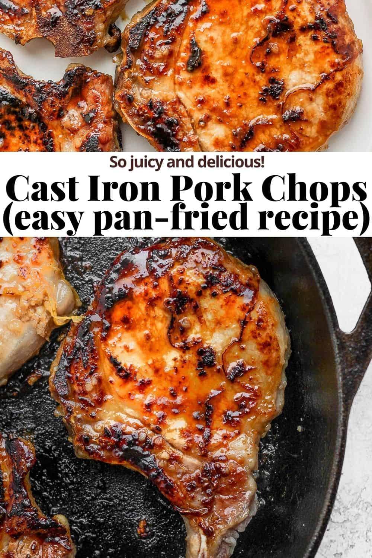 Pinterest image for cast iron pork chops.