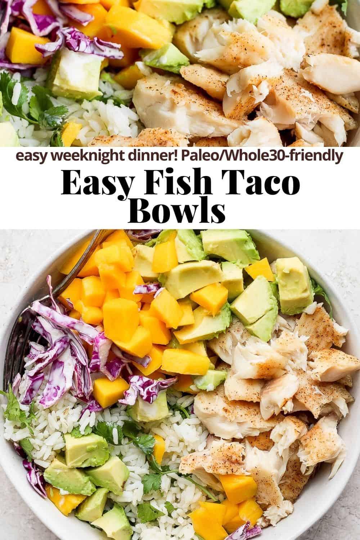 Pinterest image for fish taco bowls.