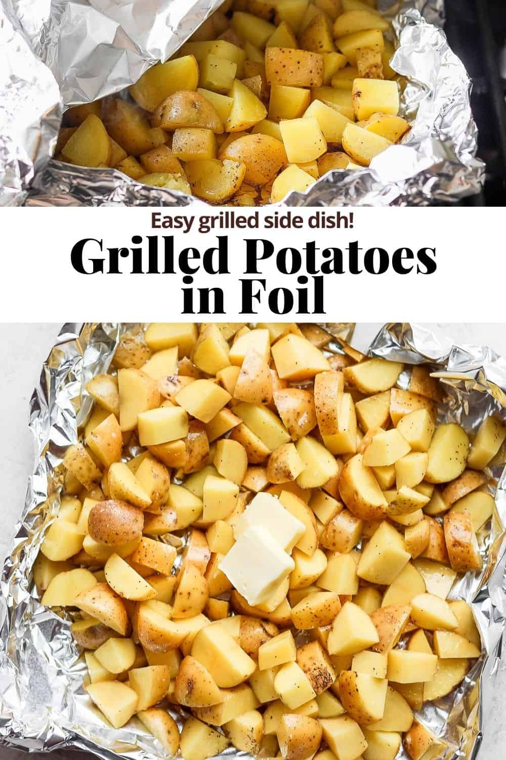 Pinterest image for grilled potatoes in foil.